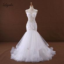 Liyuke J170 सुरुचिपूर्ण ट्यूल ए-लाइन वेडिंग ड्रेस वी-नेक एप्लिकेशंस बैकलेस बीडिंग स्पेगेटी स्ट्रैप्स ब्राइड ड्रेस रोब डे विवाह