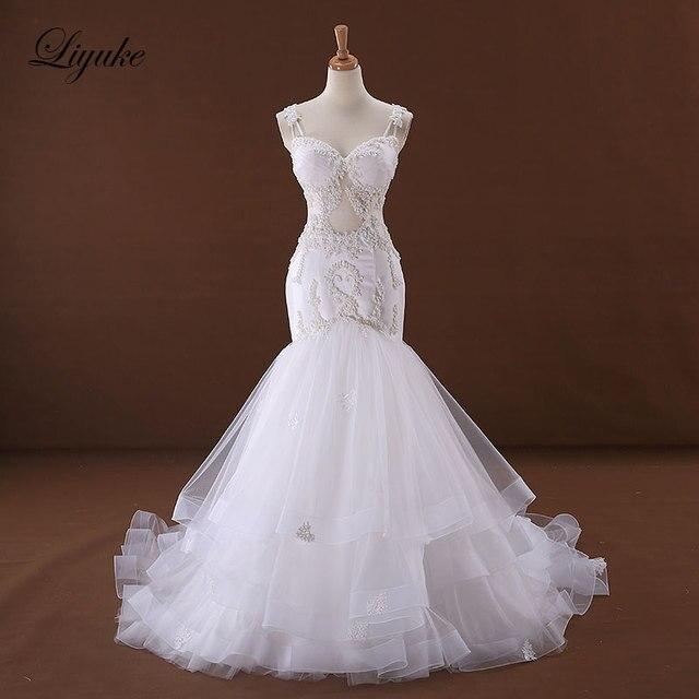 Liyuke J170 אלגנטי טול בת ים חתונת שמלה מתוקה אפליקציות ואגלי ספגטי רצועות הכלה שמלת robe דה נישואים