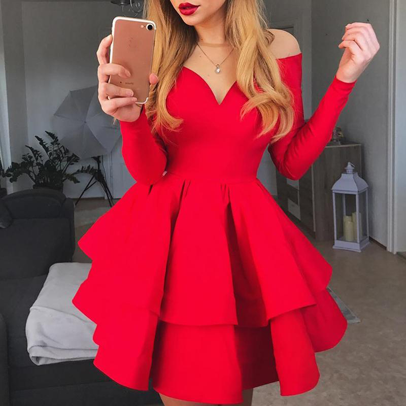 2019 Spring Women Elegant Stylish Fashion Holiday Strapless Cocktail Mini Dress Off Shoulder Layered Ruffles Red Party Dress