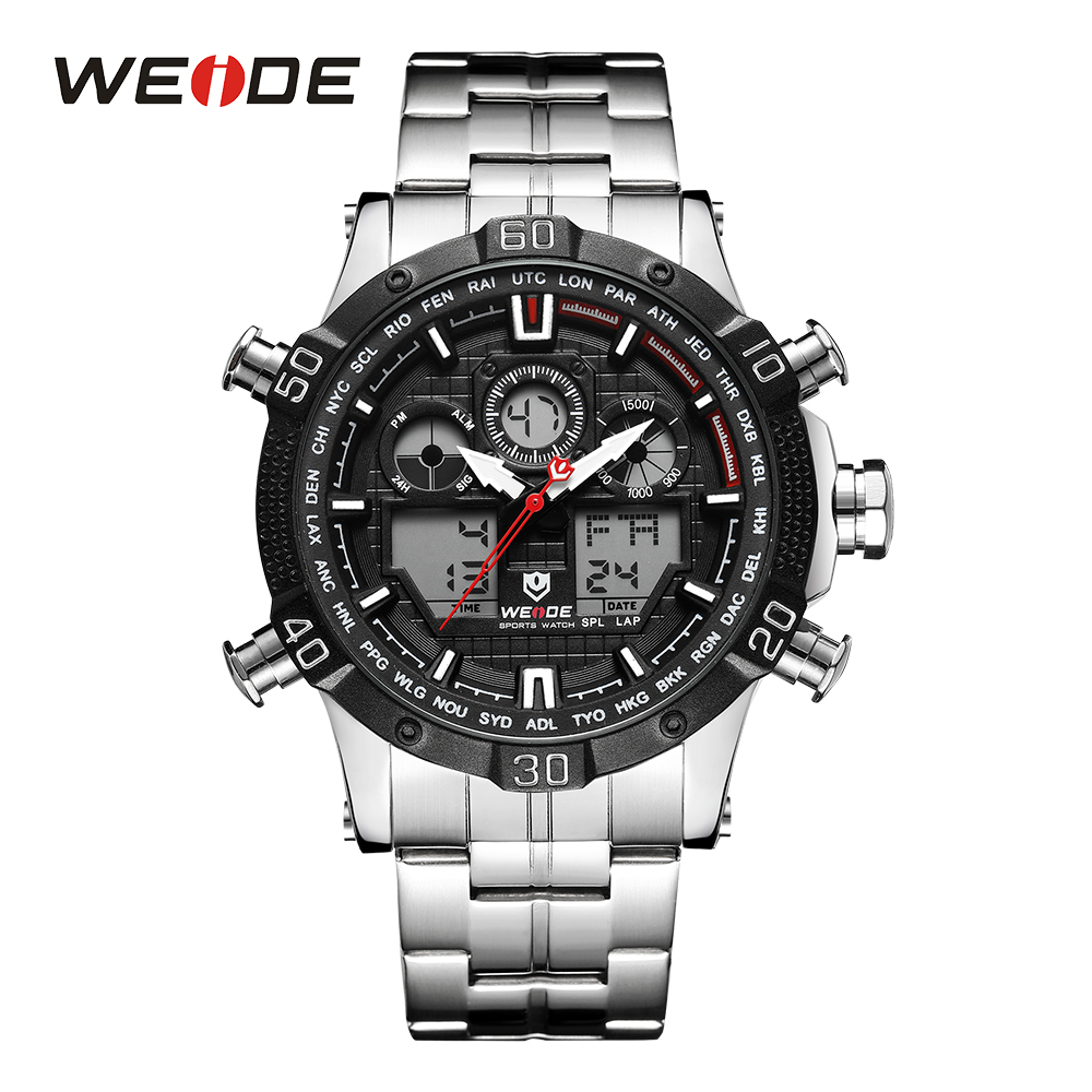 WEIDE Men Sport Black Watch Backlight Analog Alarm Digital LED Display Auto Date Quartz Stainless Steel Band Military Wristwatch top brand luxury digital led analog date alarm stainless steel white dial wrist shark sport watch quartz men for gift sh004