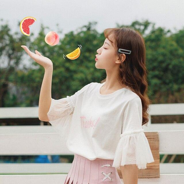 Harajuku camisa kawaii 2019 verão top roupas da moda coreano retro doce carta de impressão malha costura rosa t camisas mulher roupas