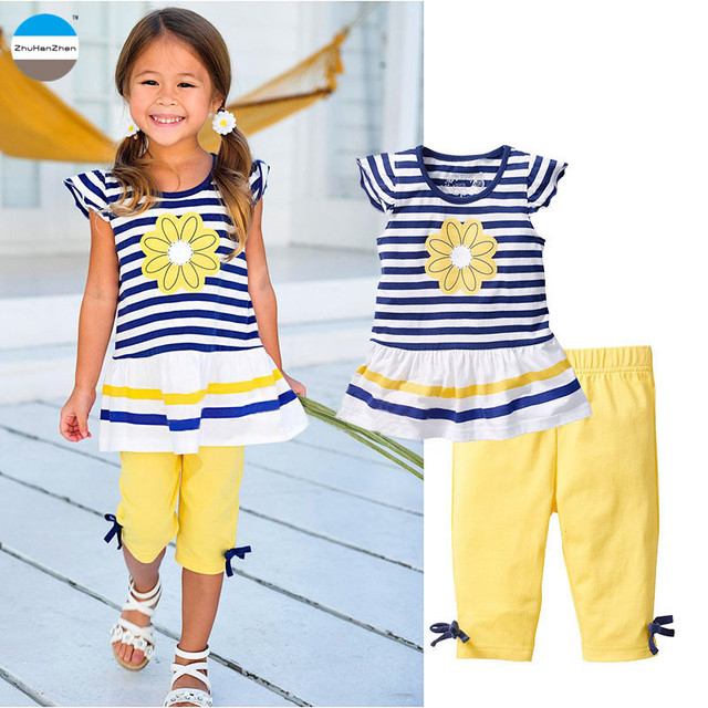 d28cc100dbdf 2018 Summer flowers baby girls clothing 2 to 8 years old kids skirt children s  clothes suit short sleeve striped t-shirt +pants