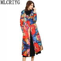 MLCRIYG 90% Duck Down Jacket Women Long Parka New 2019 Printted Warm Jackets For Women Hoody Overcoat abrigo invierno mujer L362