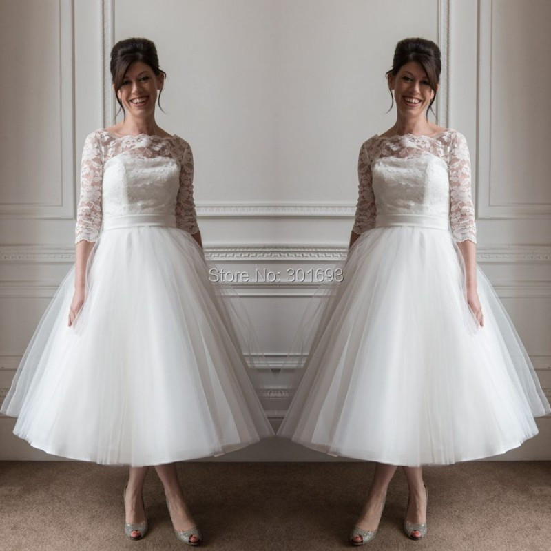 Oumeiya OMW119 Tulle Boat Neck Lace Top 50S Or 60S Vintage Tea Length Wedding Dresses With Sleeves 2015 In From Weddings Events On