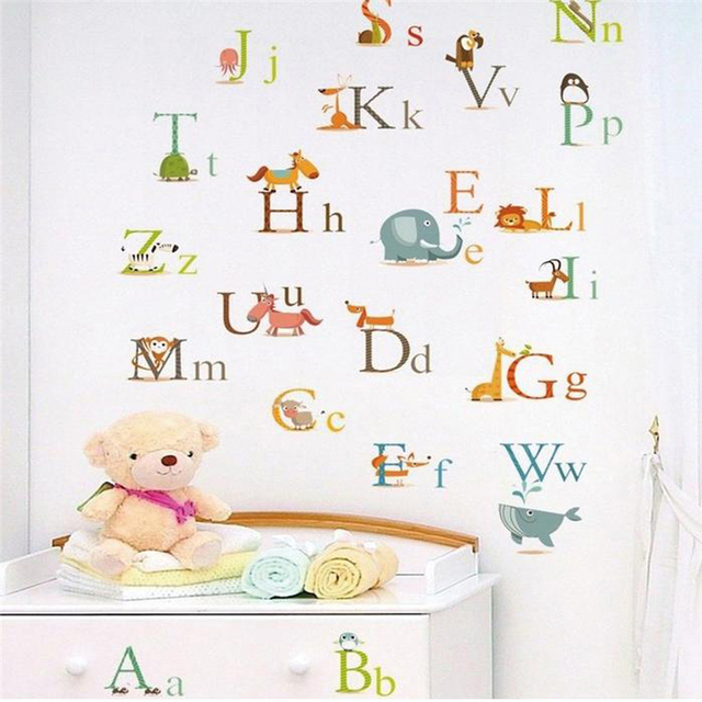 Charmant Lovely Enligh Letters Alphabet Wall Decals For Kids Room Decoration Diy  Home Stickers Animals Mural Art