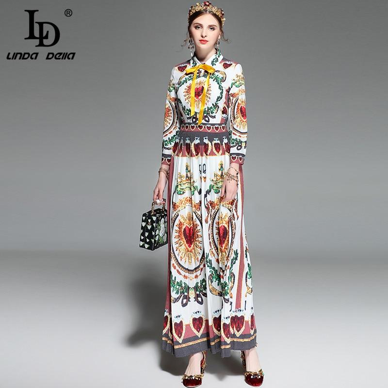 LD LINDA DELLA Spring Runway Maxi Dress Women s Long sleeve Bow Collar Printed Vintage Long