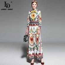 LD LINDA DELLA Spring Runway Maxi Dress Women's Long sleeve Bow Collar Printed Vintage Long Dress High Quality