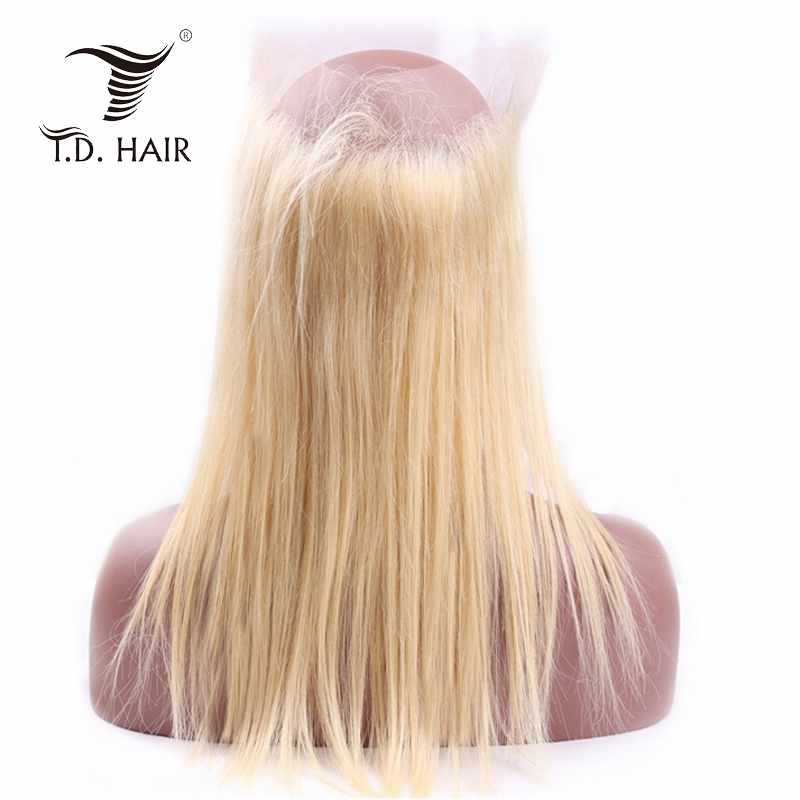 TD 360 Transparent Lace Frontal Wigs 613 Blonde Straight Hair Wig Preplucked Remy Colored Wigs Human Hair Peruvian Frontal Wig
