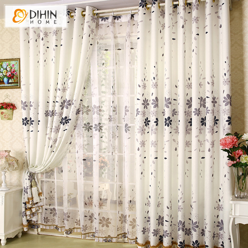 DIHIN 1 PC 2016 New Arrival 2 Colors Garden Flower Curtain Cortina The Curtains Shading Cloth