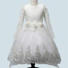 Белое Кружево Тюль Цветочница Платье С Длинным Рукавом Принцесса Костюм Дети Свадебные Платья Девочек Завершающий Платье для Партии Vestidos