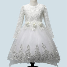 White Lace Tulle Flower Girl Dress Long Sleeve Princess Costume Kids Wedding Dresses Girls Trailing Dress for Party Vestidos