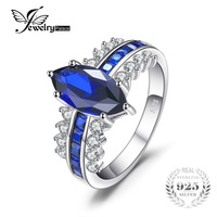 JewelryPalace Luxry 3.4ct Marquise Gemaakt Sapphire Vierkante Gemaakt Blue Spinel Statement Ring 925 Sterling Zilver hot selling