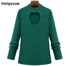 limiguyue Women autumn sweet solid green sweater long sleeve ladies slim hole streetwear big size pullovers sweater H0414