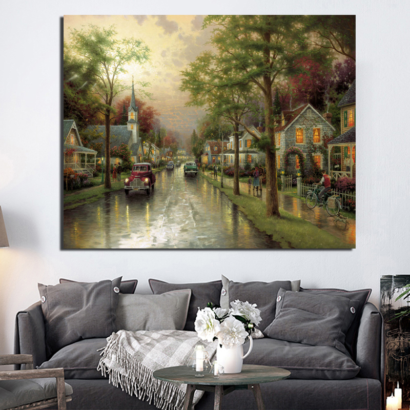 Thomas Kinkade Hometown Morning Wall Art Canvas Painting Posters Prints Modern Picture For Living Room Home Decor