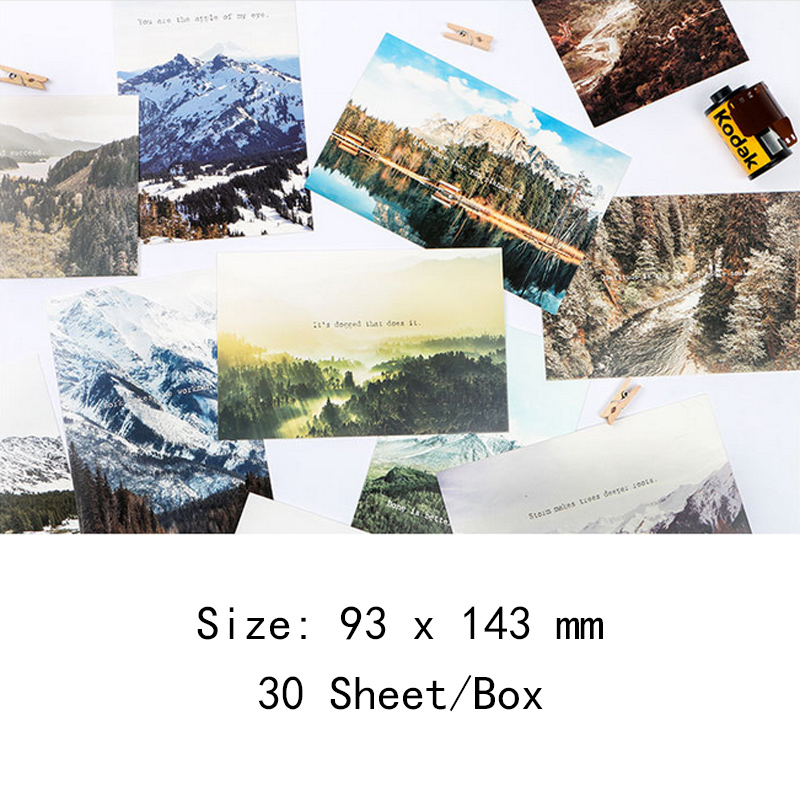 30 pcs/lot Novelty natural scenery travel postcard greeting card christmas card birthday card gift cards