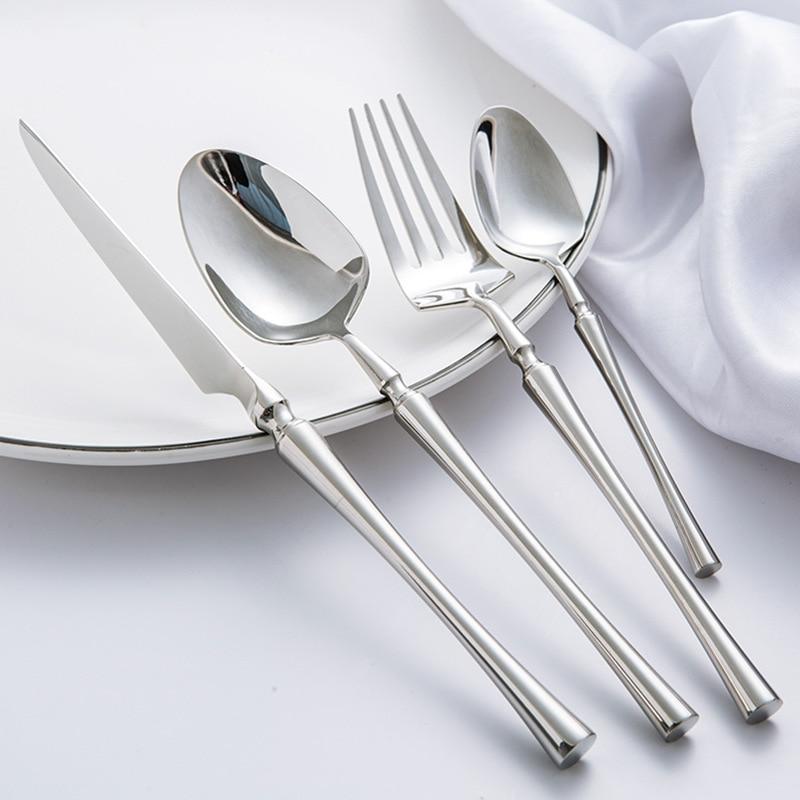 24 unids/lote comida coreana cubertería portátil 304 cuchillo de mesa de acero inoxidable S poon tenedor juego de vajilla de oro-in Juegos de vajilla from Hogar y Mascotas    1