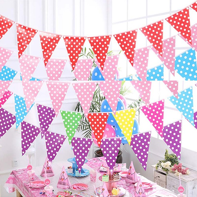 10pcs Childrens Flag Round Spot Paper Color Banner Kindergarten Classroom Setting Party Decoration Drawing Hanging