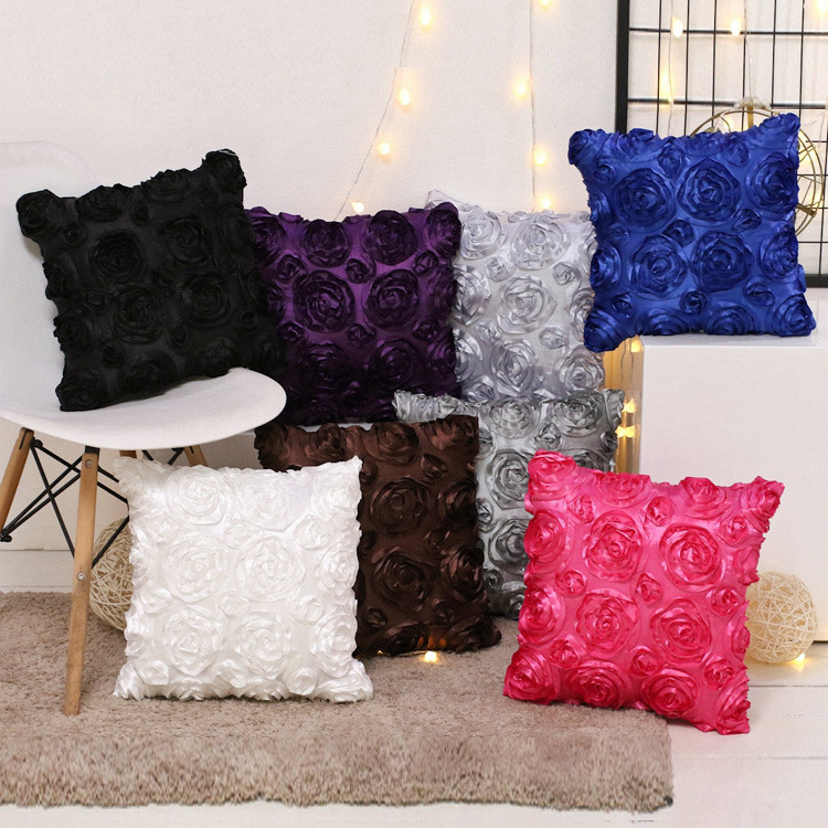 Bedding Inventive European Style 3d Roses Embroidered Cushion Cover Luxury Pillowcase Wedding Party Home Decoration Sofa Car Waist Pillows Cover High Quality Goods