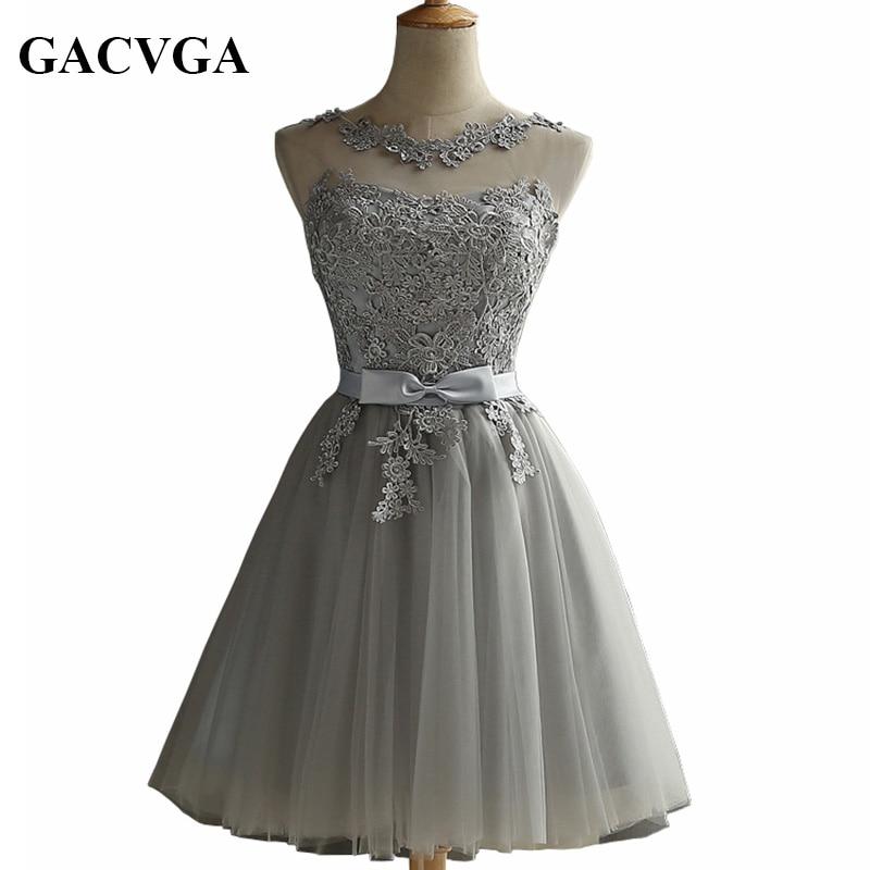 GACVGA 2019 Κομψή δαντέλα διαμαντένιο καλοκαιρινό φόρεμα Αμάνικο υπέροχο κοντό φόρεμα για γυναίκες Σέξι κομψά βραδινά φορέματα φορέματος Vestidos