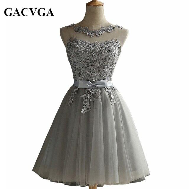 Gacvga 2018 элегантный Кружево со стразами летние платье без рукавов прекрасный короткое платье; для Для женщин пикантные Тонкий Рождество Платья для вечеринок Vestidos