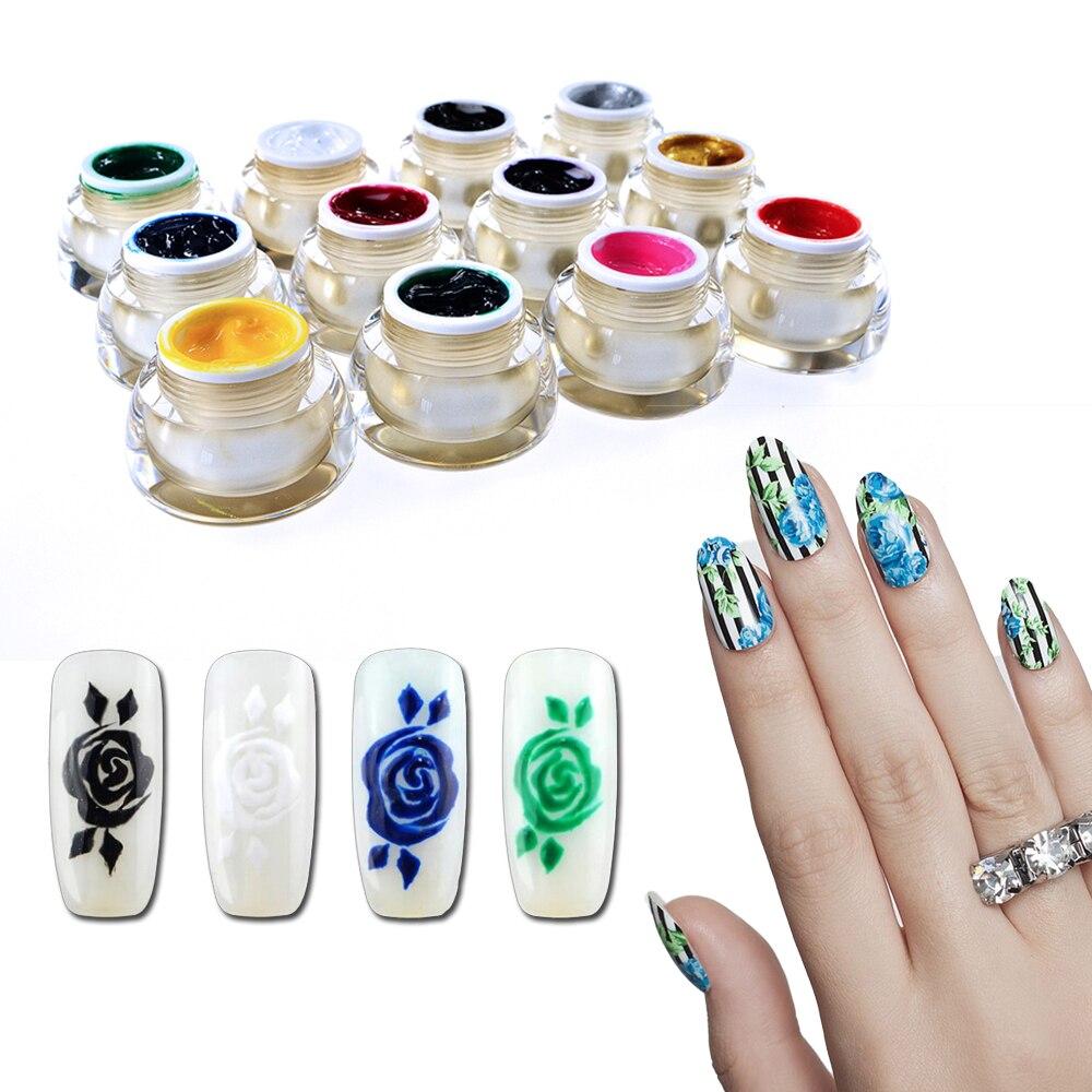 Farbe Gold 3D Nail art Lack Zeichnen Malerei Acryl Farbe UV Gel DIY ...