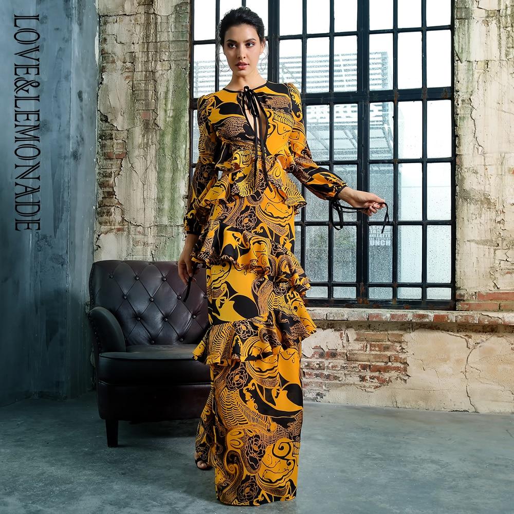 Amour Limonade Robe 0 Manches Longue Lm81411 Dos cou Ouvert Et Ruches Imprimer Longues DHE2W9I