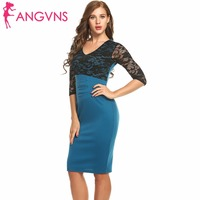 ANGVNS Women Elegant Vintage Pin Up Retro Floral Translucent Lace Half Sleeve Patchwork Party Club Bodycon Sheath Pencil Dresses