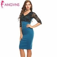 ANGVNS Women Elegant Vintage Pin Up Retro Floral Translucent Lace Half Sleeve Patchwork Party Club Bodycon Sheath Pencil Dresses