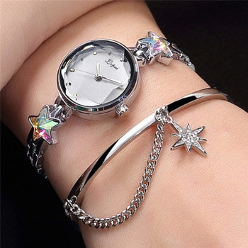 LVPAI Top brand Luxury Ladies watch Women Quartz clock Rose gold diamond bracelet starry Female Rhinestone steel Watches A4