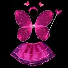 New 4Pcs Fairy Princess Kids Costume Sets Butterfly Wings Wand Headband Tutu Skirt