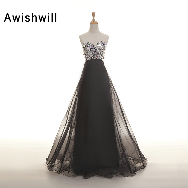 Custom Made Vestido de Noche Sweetheart Neckline Beaded Rhinestones Tulle Evening Gowns with Corset Back Party Dresses Black