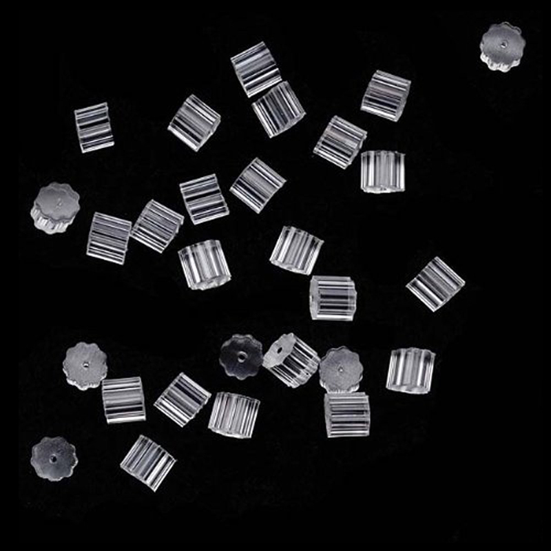 50Pcs Transparent Rubber Stud Earring Backs Hooks Stoppers Post Fastener Accessories For Making Earrings Finding Wholesale