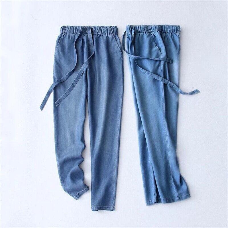 Women Trousers 2018 Autumn Summer Cotton Slimming Jeans Drawstring Trousers Denim Pants Pencil Jeans Ladies Black Large Size