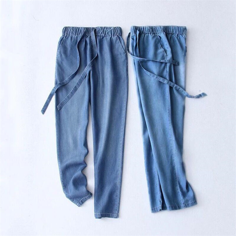 Women Trousers 2019 Autumn Summer Cotton Slimming Jeans Drawstring Trousers Denim Pants Pencil Jeans Ladies Black Large Size