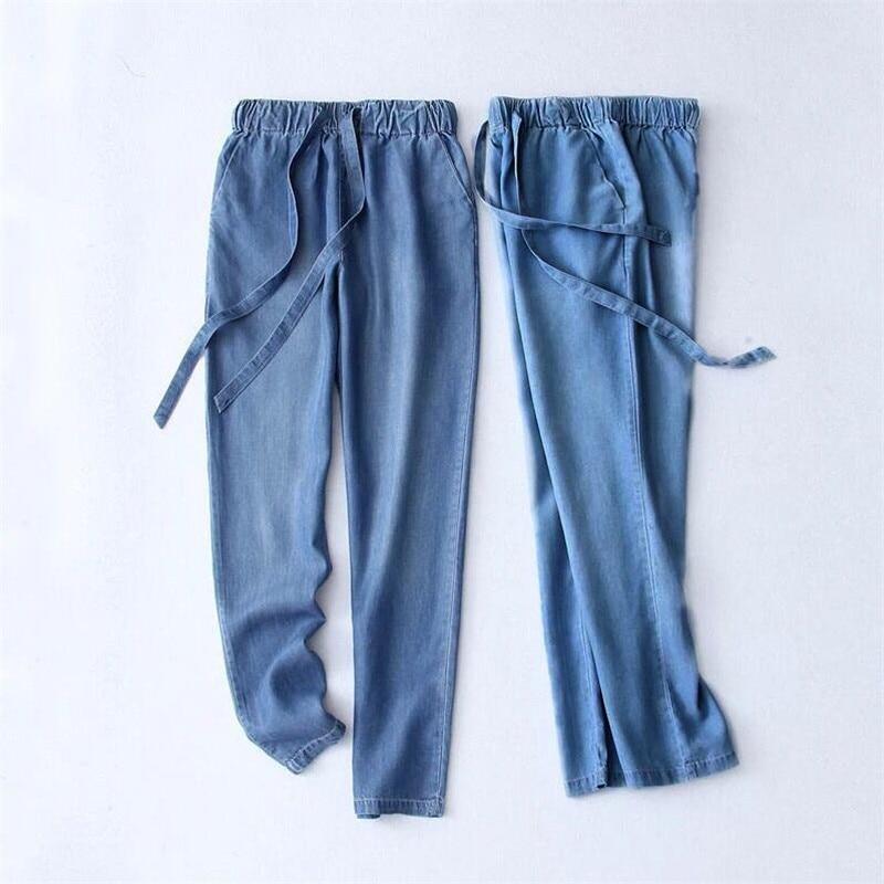 Women Trousers 2020 Autumn Summer Cotton Slimming Jeans Drawstring Trousers Denim Pants Pencil Jeans Ladies Black Large Size
