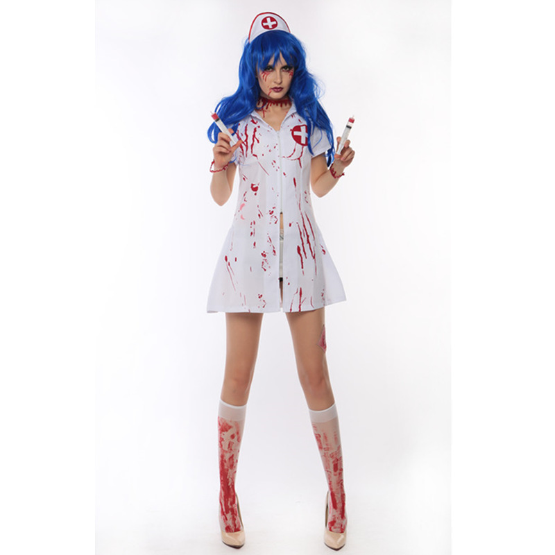 Sexy halloween zombie costumes for women scary halloween costumes for women blood nurse costumes horrible nurse cosplay clothing