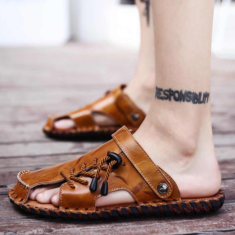 8d5b465530e3 ... Spring Men Sandals Brand Genuine Leather Shoes Man Roman Style Beach  Flat Sandals Men Slippers Male ...
