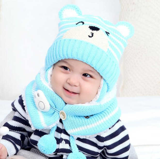 3e9c8eefb44 ... Unisex Child Beanies Cap Set Baby Kids Cartoon Design Stripe Knit Add  Velvet Hat and Scarf
