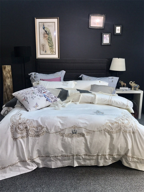 Ordinaire 100% Egyptian Cotton Bedding Set White Gray Luxury Embroidered Duvet Cover  Set King/Queen