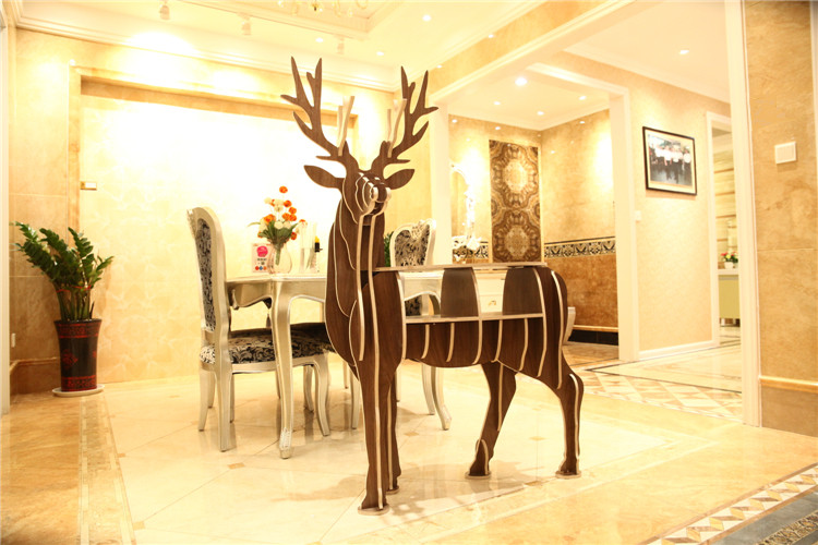 60 Wooden Reindeer Home Decor Shelf Bookcase Coffee Table DIY Self-build Living Room Puzzle Furniture