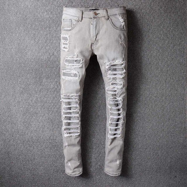 610074e355 New Grey Ripped Jeans Men With Holes Denim Super Skinny Famous Designer  Brand Slim Fit Jean