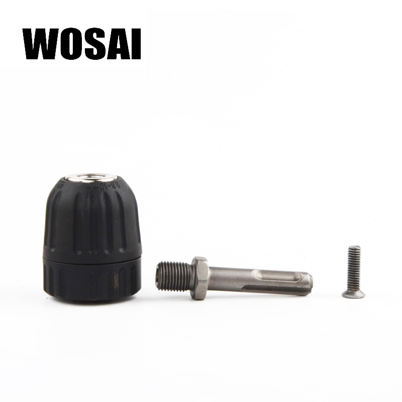 WOSAI Electric Hammer Convert Electric drill Adapter 0.8-10mm Drill chuck Two pits and two slots SDS wosai 6pcs electric drill