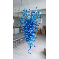 Hot Sale Fancy Murano Glass Decorative LED Lights Home Blue Large Foyer Chandeliers