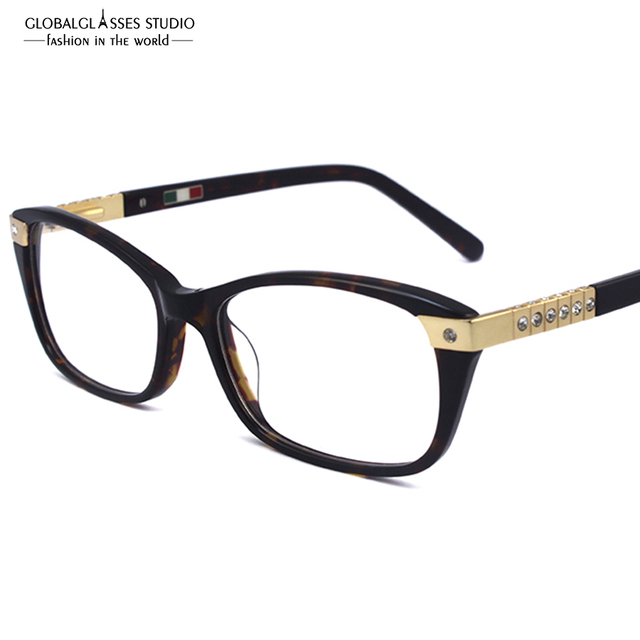 7043f8997a Luxury Diamond Eyeglass Frames High Quality Glasses Women New Designer  Optical Frame Eyewear 602R