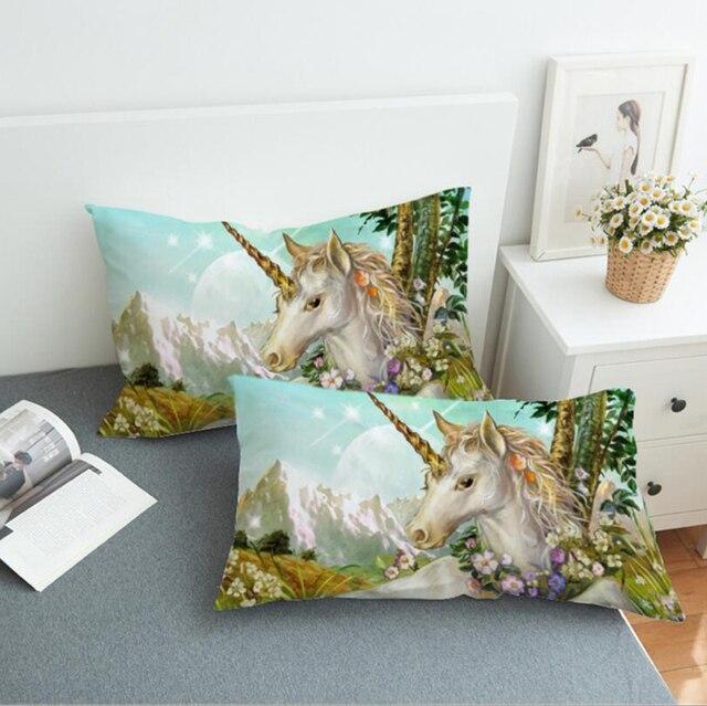 3D Federa Del Corpo Del Fumetto Unicorno Decorativa Coperture per Cuscini per I Bambini Delle Ragazze Carino Copertura del Cuscino 48x74cm Formato 2 PCS