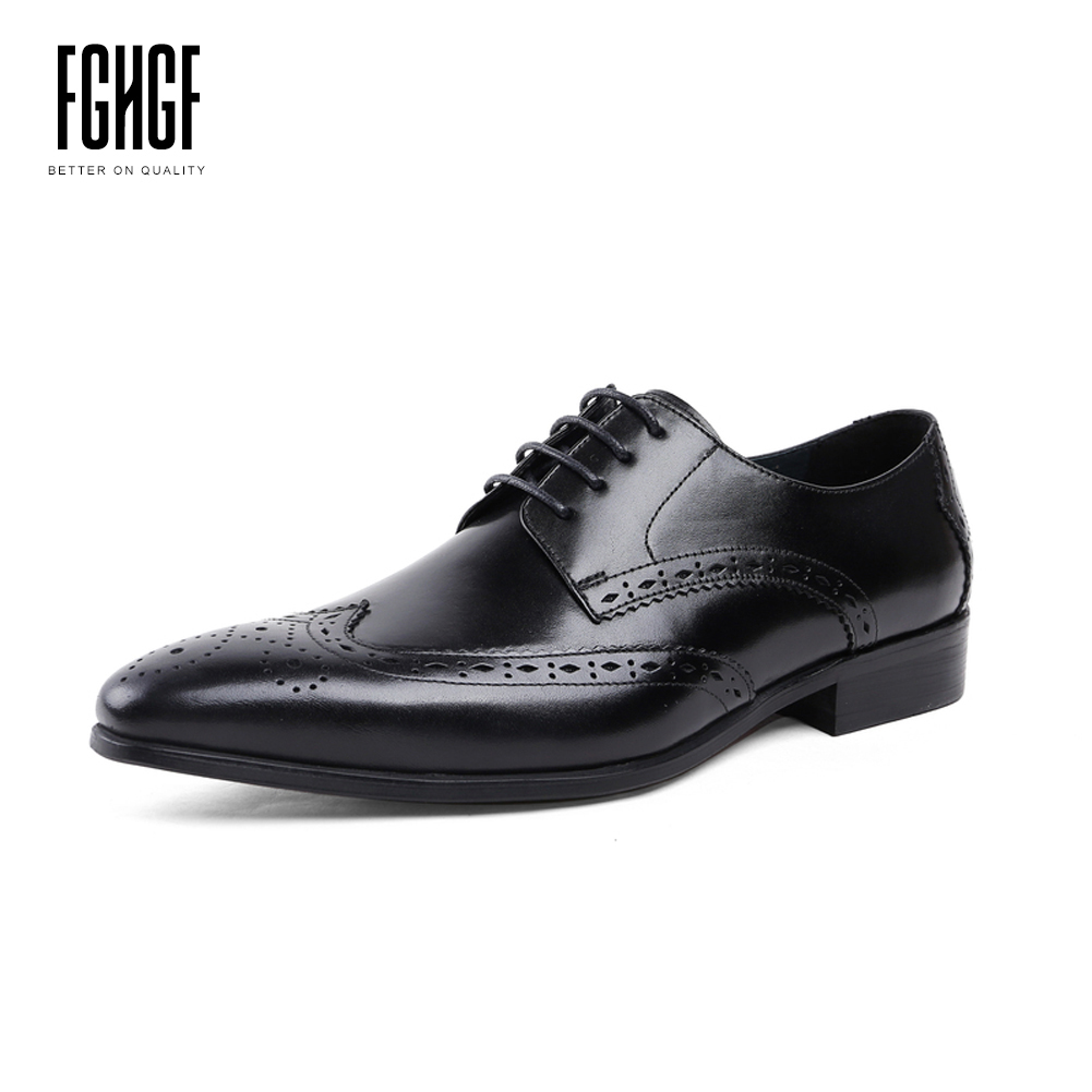 Men's Derby Shoes Genuine Leather Cowhide Leather Pig Inner Round Toe Brogue Style Dress Wedding Business Shoes 2018 New Lace-up classic men s genuine leather shoes cowhide leather pig inner pointed toe derby dress wedding business shoes 2018 fashion