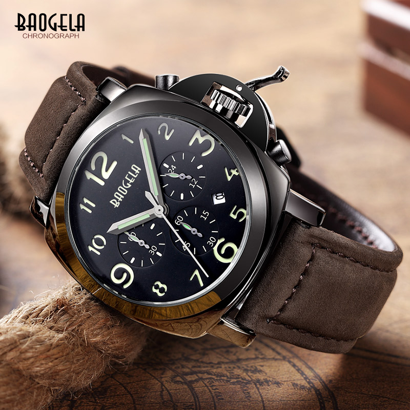 Baogela Mens Watches Brown Leather Strap Fashion Chronograph Reloj Hombre Christmas Gift Quartz Watch Relogio Masculino