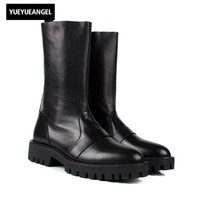 Fashion Brand High Top Mens Genuine Leather Men Mid Calf Shoes Thicken Platform Fashion Martin Boots Army Military Botas For Men