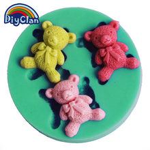 DIY Plasmin bear Confectionery silicone molds for cake decoration food-grade silicone mini fondant Polymer clay molds F0451XM35(China)
