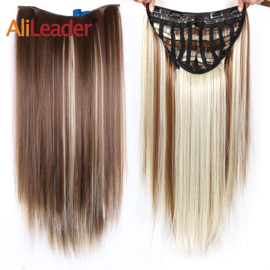 Intelligent Alileader 24inch 30g Natural U Part Half Wig Synthetic Hair Long Black Brown Wigs Heat Resistant Clip In Hair Extension Straight Latest Technology